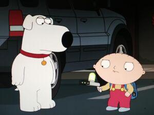 Stewie Griffin is holding a portal gun