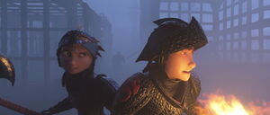 Hiccup and Astrid fights the Dragon Hunters (Night time)