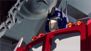 Optimus Prime facing Megatron