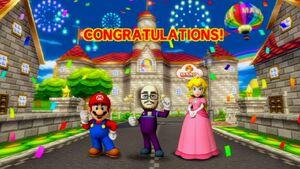 Mario kart wii mario peach and mii in the Ending