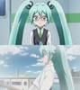 Two of Hatsune Miku's different outfits in the Shinkalion anime series