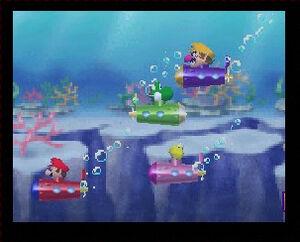 Mario Party 2 mario yoshi peach and wario in the minisubmarine