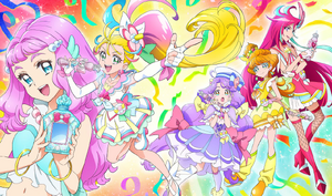 Tropical-Rouge! Pretty Cure sponsor card with the Cures and Laura