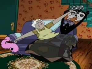 Courage trying to save Muriel from the Stitch Sisters.PNG