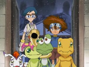 Taichi, Joe, Agumon, Gomamon and Palmon with Gekomon.
