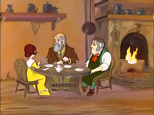 Edward and the Plummers have tea