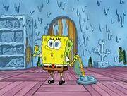 SpongeBob vaccum Squidward's house