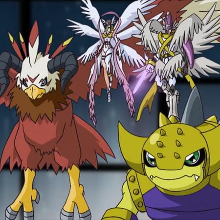 Aquilamon, Angewomon MagnaAngemon & Ankylomon.png