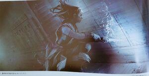 Rey underwater the Death Star concept art