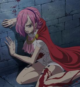 Vinsmoke Reiju shot in the thigh