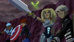 Young Avengers facing Ultron