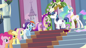 Twilight's friends, Spike, Cadance and Shining Armor S2E25