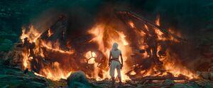 Rey burns Kylo's TIE