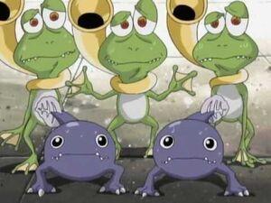 3 Gekomon and 2 Otamamon