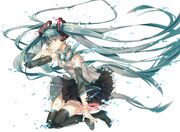 Headphones tattoos Vocaloid stockings Hatsune Miku cleavage tears tie skirts long hair heterochromia red eyes thigh highs see through twintails aqua eyes aqua hair simple background anime girls detached sleeves whit