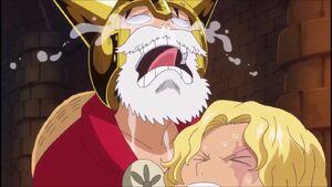 Luffy hugs Sabo and cries