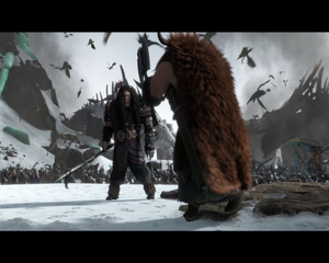 Stoick facing Drago Bludvist