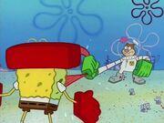 Sandy pulling SpongeBob's tongue