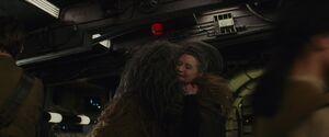 Chewie hugs Leia
