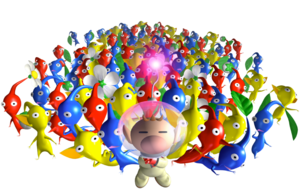 Olimar and many Pikmin P1 art