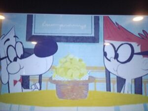 Mr. Peabody and Sherman are eating potato chips