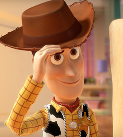 Woody smiling kindly