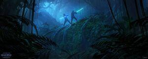 Luke Leia training concept art