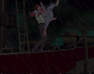 Dimitri saves Anastasia from jumping off the ship