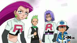 Ash, Cilan, James and Jessie.