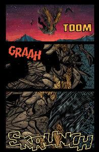 Godzilla steps on MUTO Prime's face