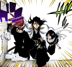 Byakuya rescues Renji and Rukia