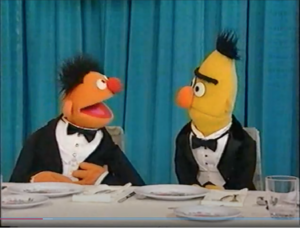 Ernie and Bert talking about Grover