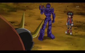 Mikey and BlueMeramon (BlueMeramon talks to AncientVolcamon)