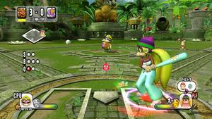Tiny Kong batting in Mario Super Sluggers.
