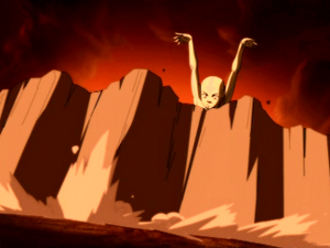 Aang blocking an attack by Ozai