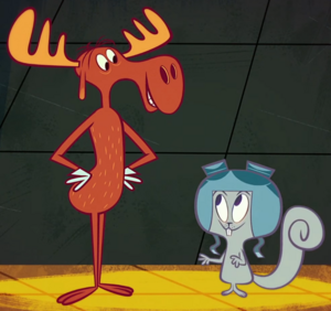 Rocky and bullwinkle in temple