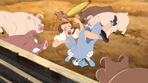Tom and Jerry keeping Dorothy safe