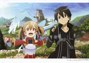 Yande.re 338502 adachi shingo armor kirito pina silica sword art online