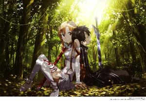 Yande.re 338471 adachi shingo armor asuna (sword art online) kirito sword sword art online thighhighs