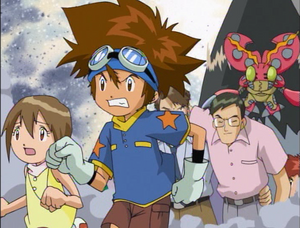 Taichi, Hikari, Tentomon and Masami Izumi