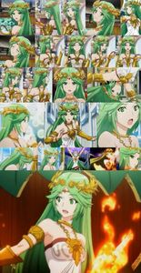 A collage photo of Palutena in an anime style