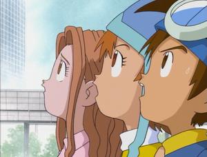 Taichi, Sora, and Mimi looks up.