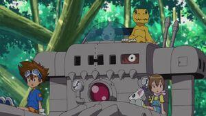 Taichi and Hikari and their partners with Mekanorimon