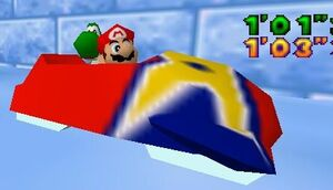 Mario Party 64 mario and yoshi in the sled