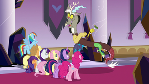 Discord surprised to see the Mane Six S9E2