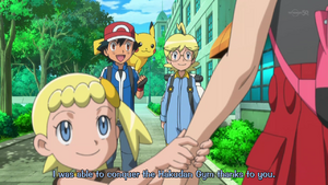 PKMXYEP007 - Ash Tells Serena That It Was Because of Her That He Succeeded