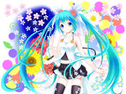Aqua eyes aqua hair flowers hatsune miku long hair setona daice skirt thighhighs twintails vocaloid 1600x1200