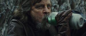 Luke drinks green milk
