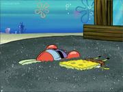 Krabs and SpongeBob ran over