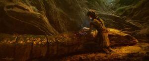 Rey heals a snake concept art